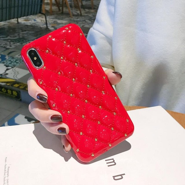 Luxury Quilted and Bejewelled Leather Bling Phone Case