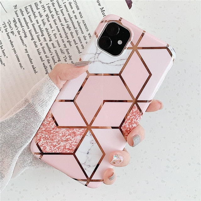 Lovely Geometric Pattern Marble Phone Case - Narce Cases