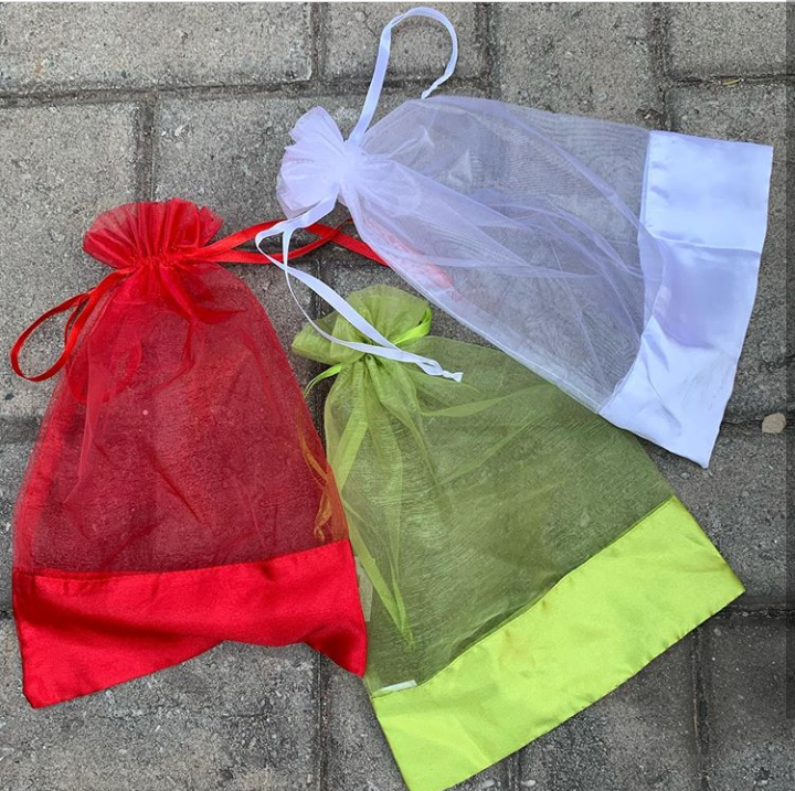 Silk and Organza drawstring bags