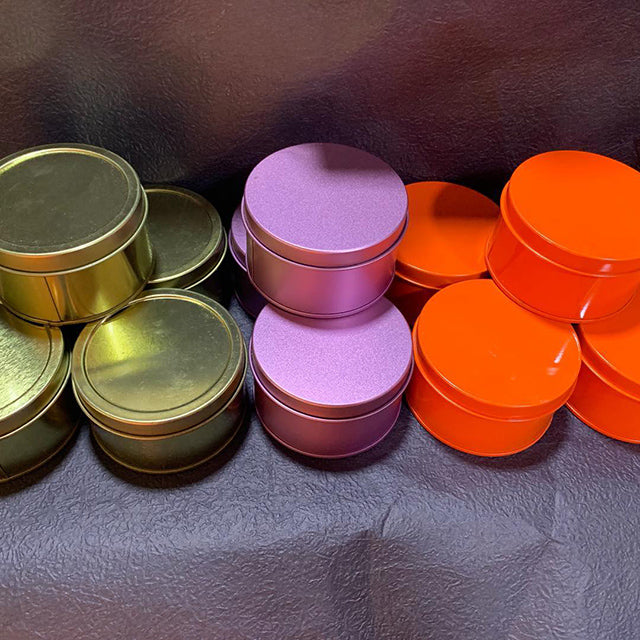 Round tin containers