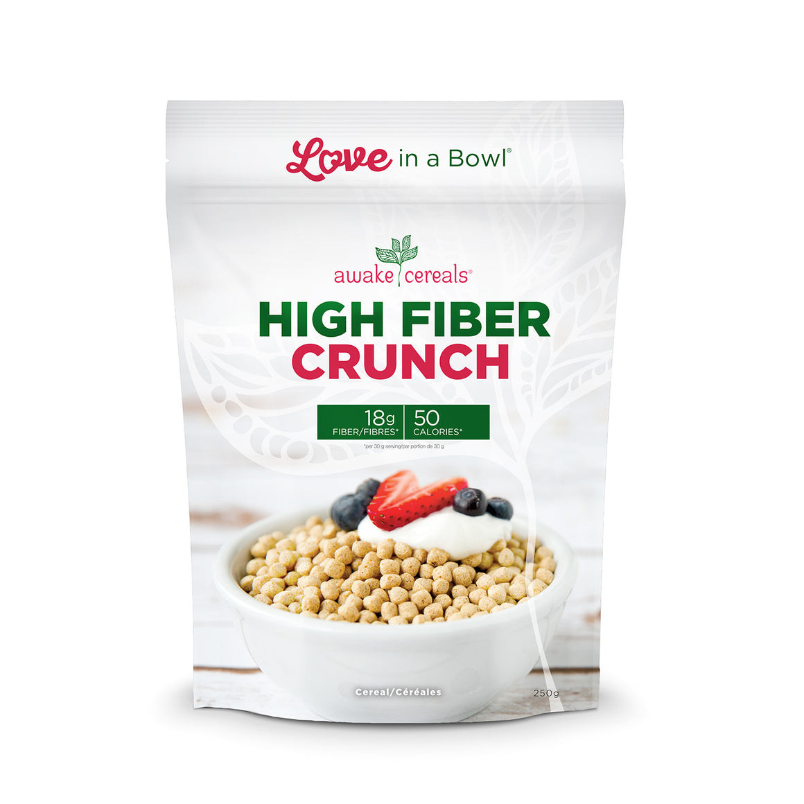 High Fiber Crunch - 250 grams per bag                                     sales are 12 per box                                                                            and free shipping for 2 or more cases