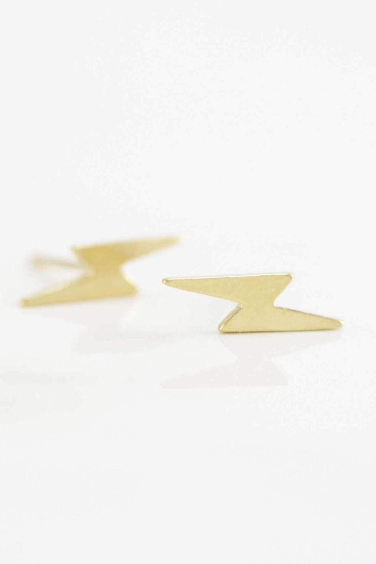 The OM Collection 14k Yellow Gold Plated Bronze Bohemi Bolt Studs