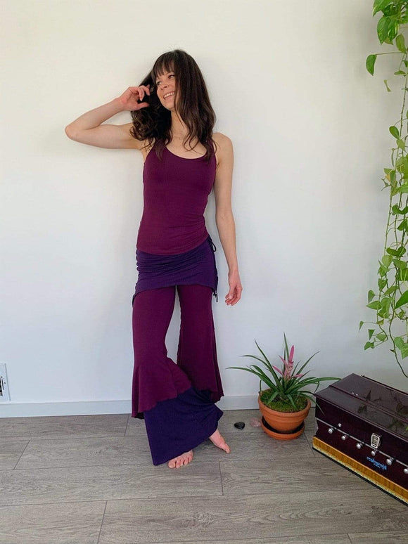 The OM Collection XS / Plum/ Vigneto/ Plum 3 Tier Flow Pants // Ruby Way