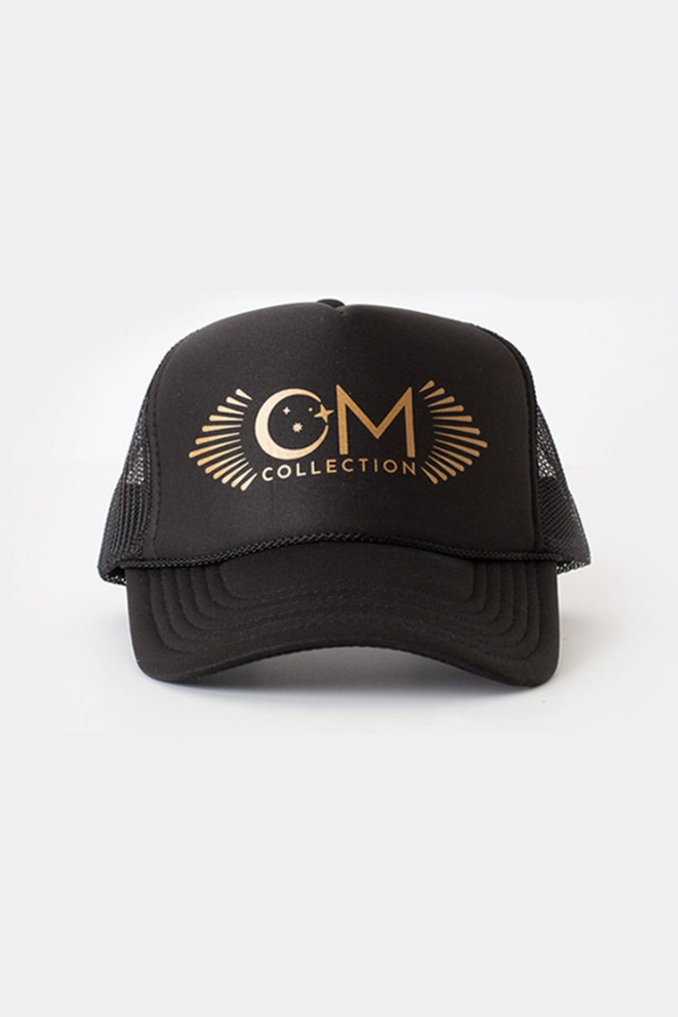 The OM Collection Black OM Trucker Hat