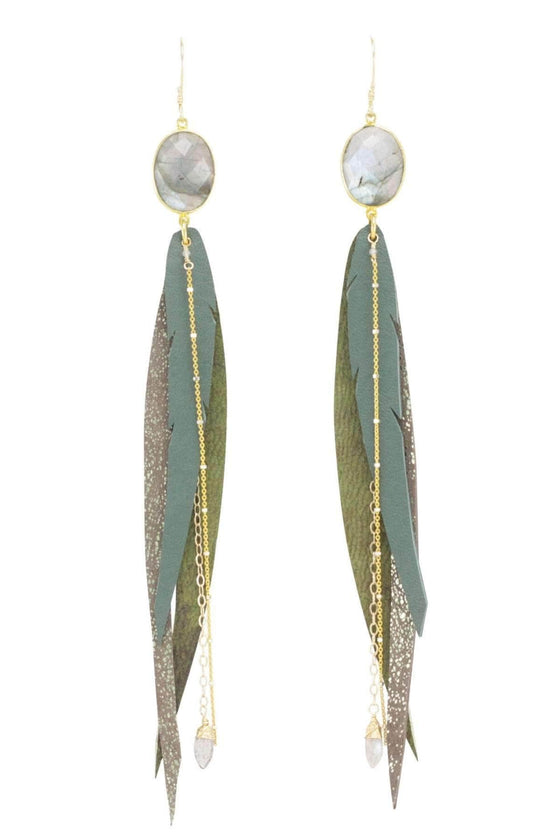 The OM Collection Bohemi Quetzal Earring w/ Labradorite