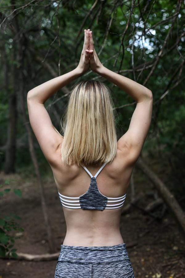 The OM Collection Bra Top XS Trilogy Reversible Yoga Bra // Grey Stratta + White