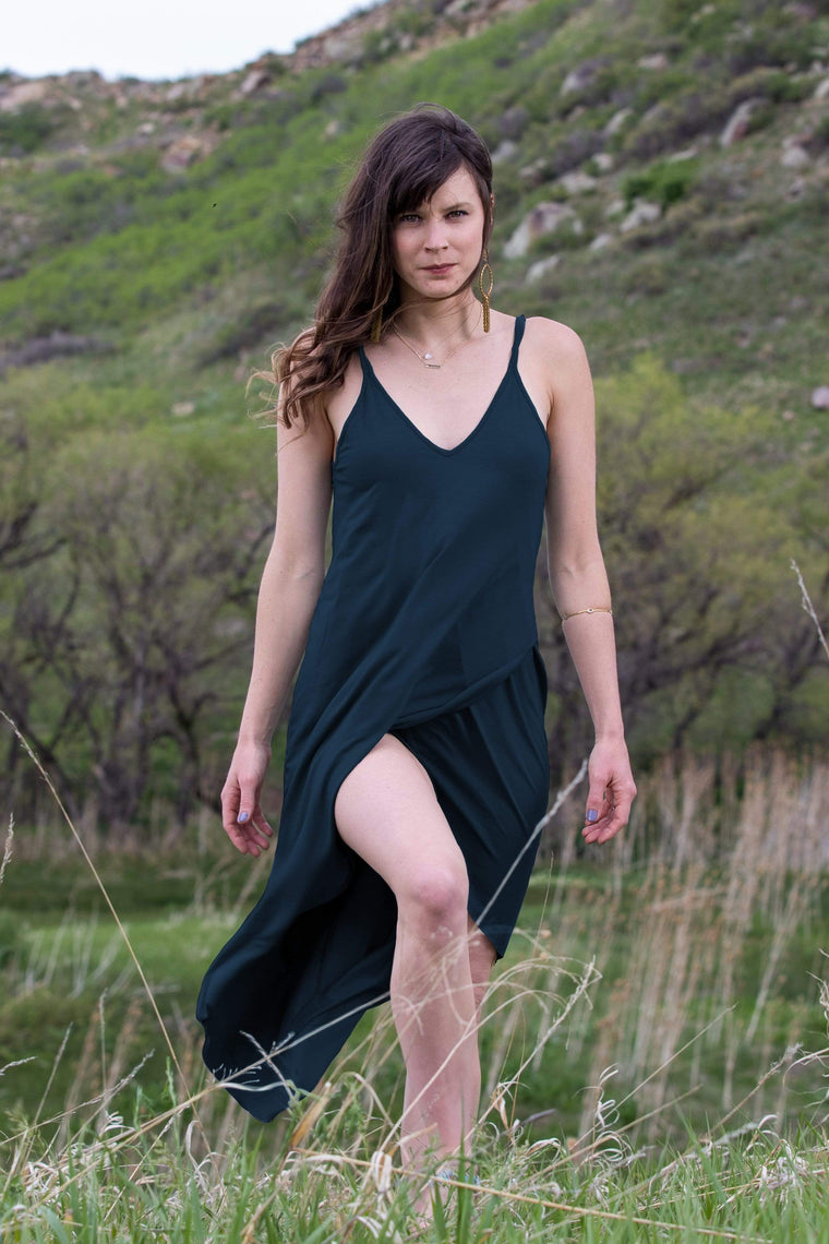 The OM Collection Dark Teal / XS In the Moment Slip Dress