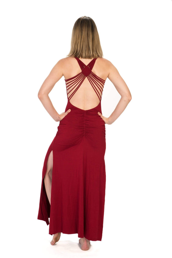 The OM Collection Dress Red / XS Macrame Maxi Dress