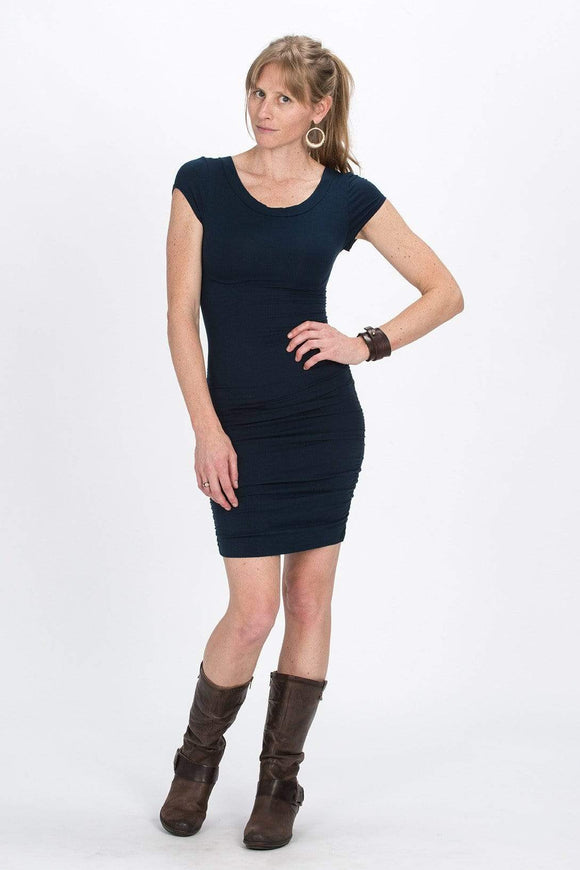 The OM Collection Dress Navy / XS X Back Ruched Keyhole Dress