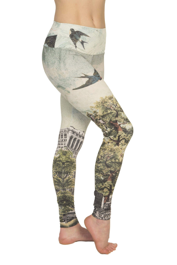 The OM Collection Leggings High Waist Leggings // Free Bird Print