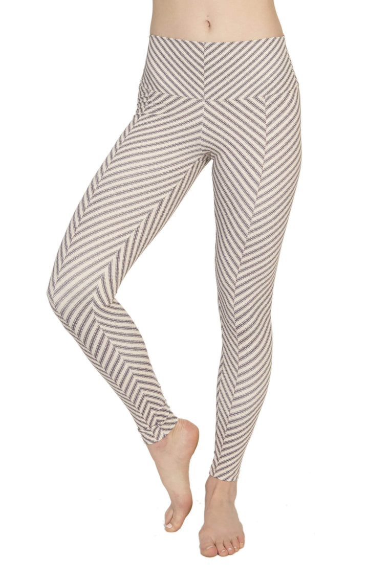 The OM Collection Leggings High Waist Leggings // Gratitude Stripe Print