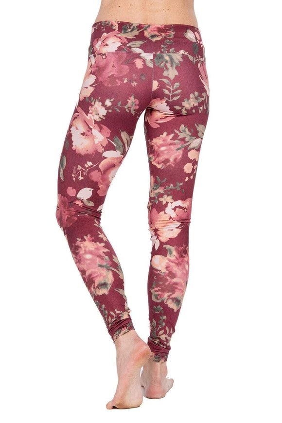 The OM Collection Leggings XL High Waist Leggings // Vintage Maroon Floral