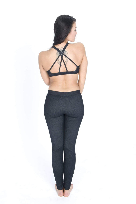 The OM Collection Leggings XS (00-2) / Black Denim Panel Leggings // Denim