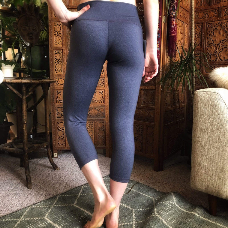 The OM Collection Leggings S / Blue Grey Sample Sale // High Waist Capri Leggings