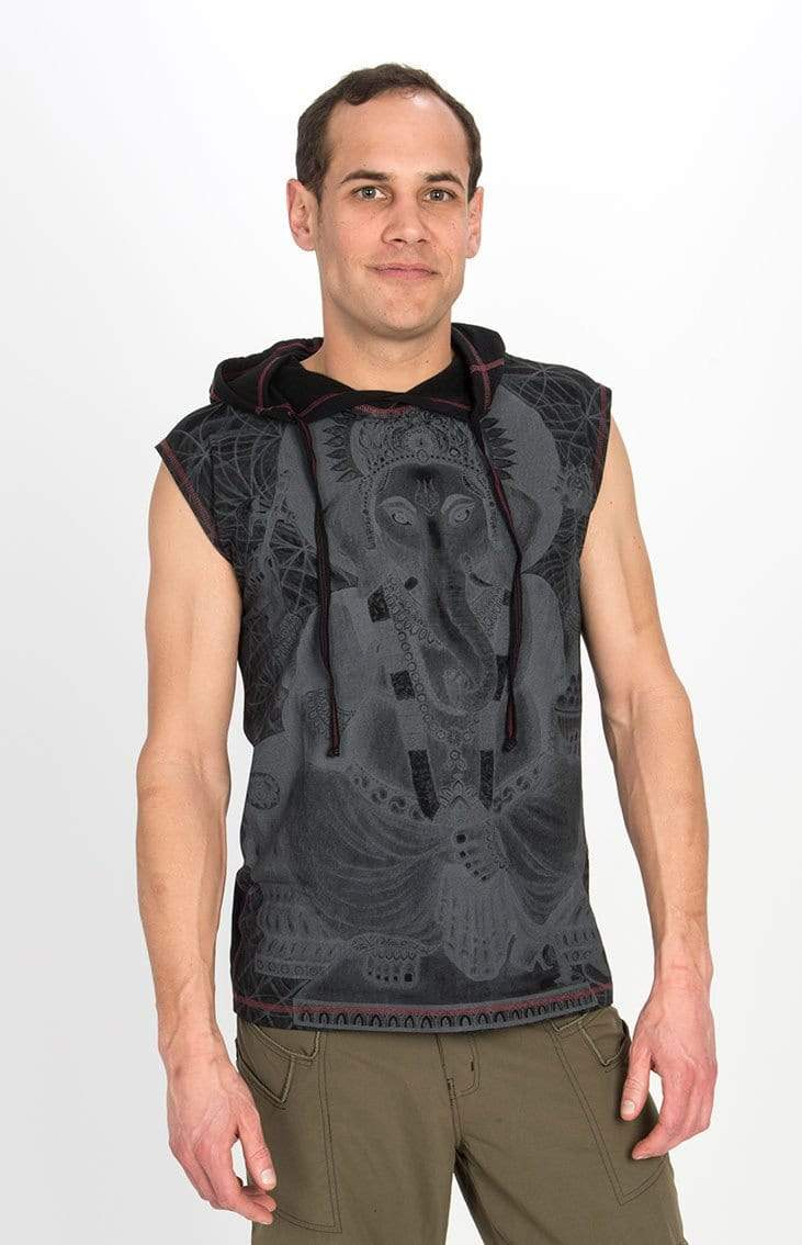 The OM Collection Men's Shirt Black / S Ganesha Sleeveless Hoodie