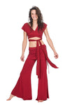 The OM Collection Pants Red / XS Wide Leg Pant with Mini Skirt