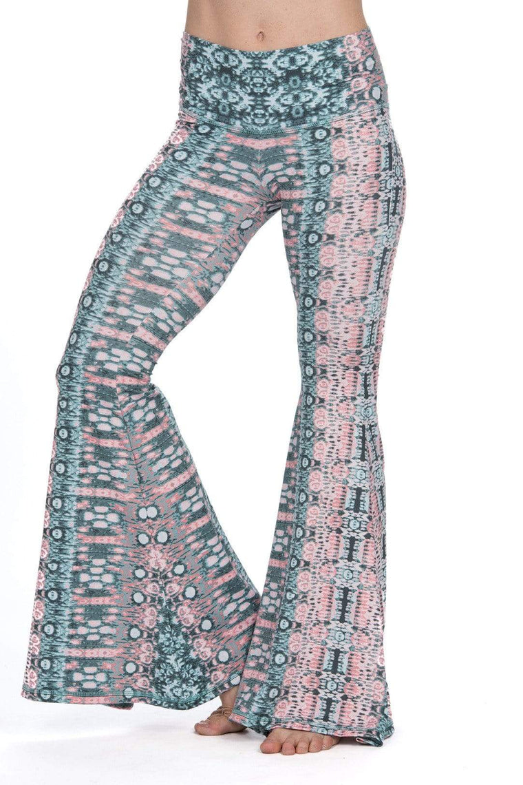 The OM Collection Pants S Lush Wide Leg Bell Bottom // Colorful Psychedelic Print