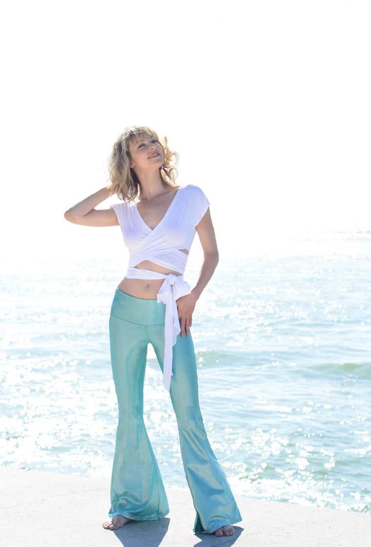 The OM Collection Pants Stardust Bell Bottom // MERMAID GREEN