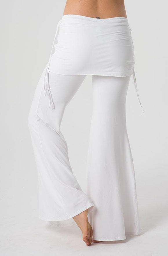 The OM Collection Pants White / XS Wide Leg Pant with Mini Skirt