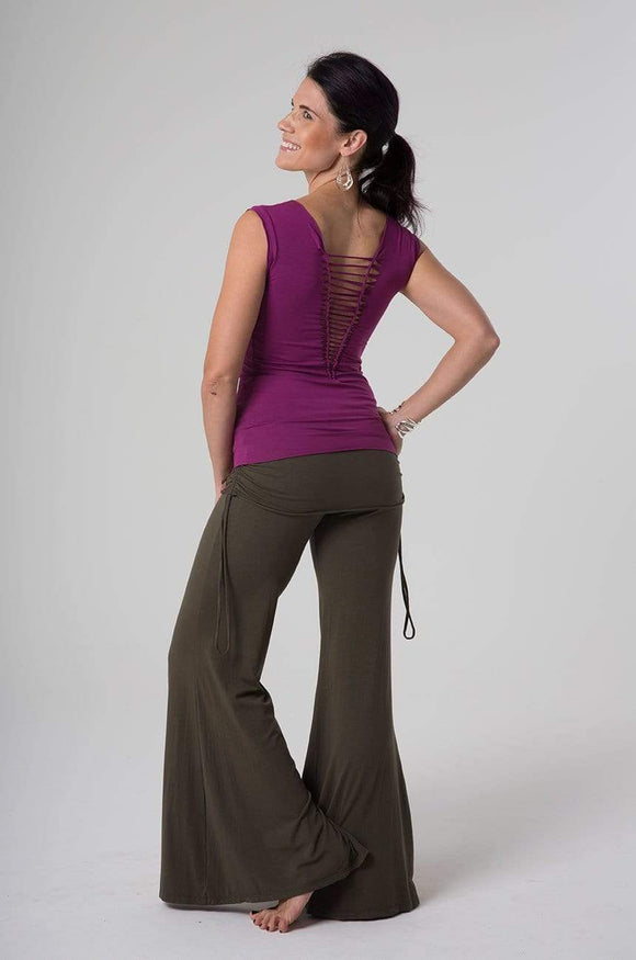 The OM Collection Pants Plum / S Wide Leg Pant with Mini Skirt
