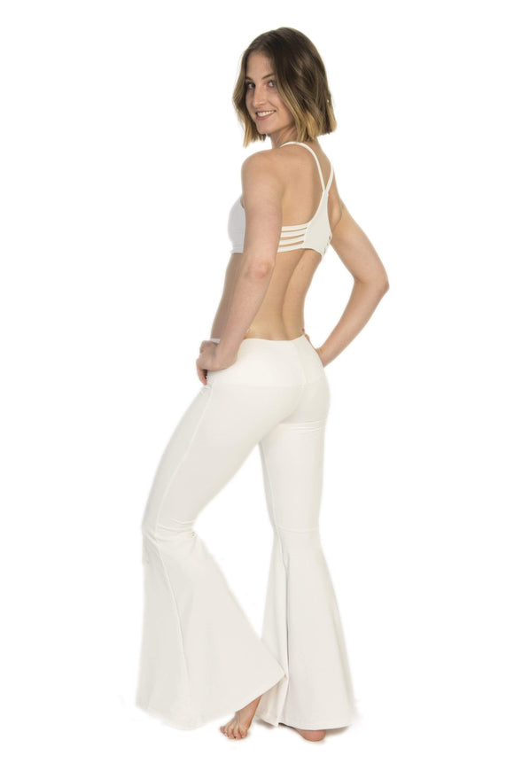 The OM Collection Pants Lush Wide Leg Bell Bottoms // White