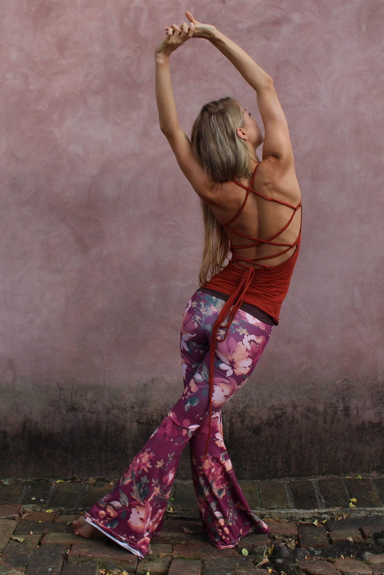 The OM Collection Pants XXS Lush Wide Leg Bell Bottom // Maroon Floral Print