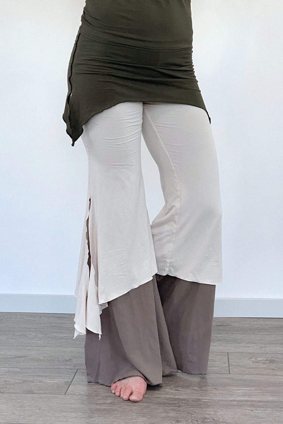 The OM Collection XS / Army/ Winter White/ Sable 3 Tier Flow Pants // Enchanted Way