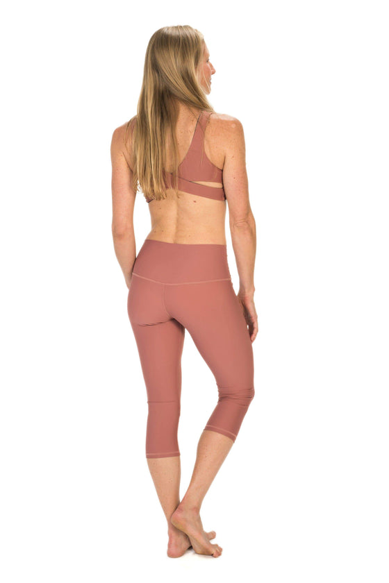 The OM Collection S / Rose High Waist 3/4 Capri Leggings // Swim and Sweat Fabric