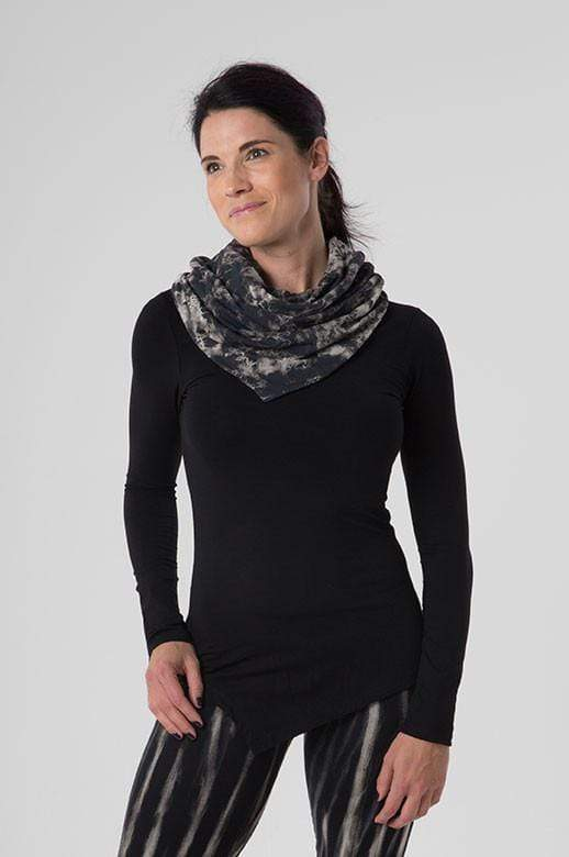The OM Collection Shirt Black w/ Neuron Tie Dye / XS Pointed Cowl Long Sleeve