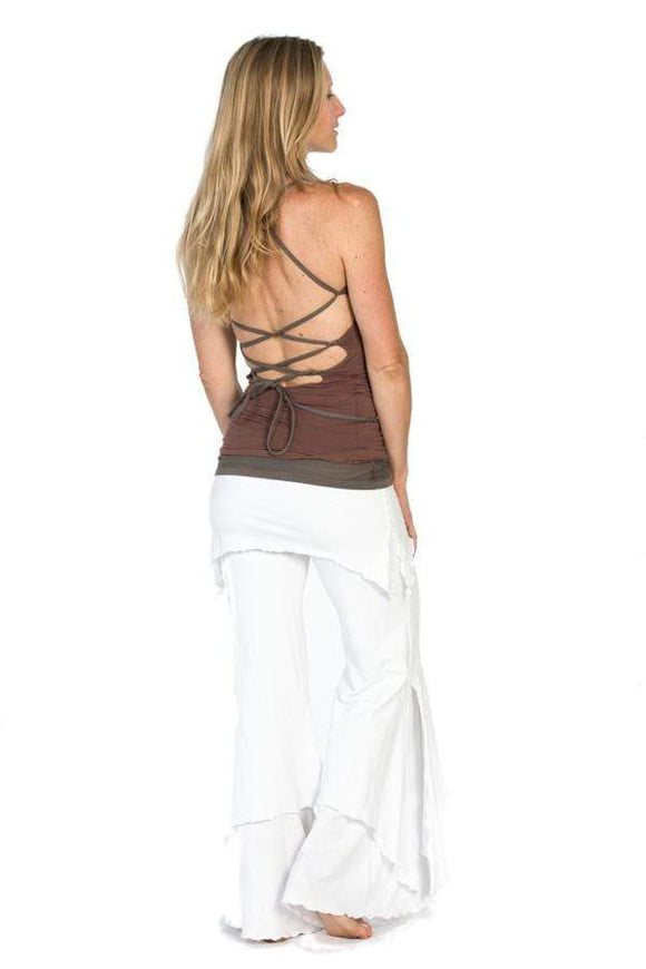 The OM Collection Shirt Winter White and Sable / XS Reversible Lace Up Ballerina Tank
