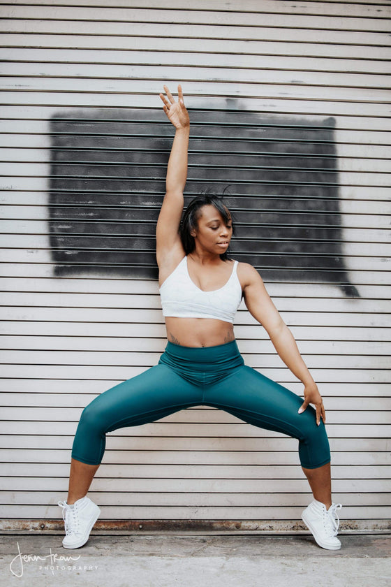 The OM Collection XS / Dark Teal High Waist 3/4 Capri Leggings // Swim and Sweat Fabric