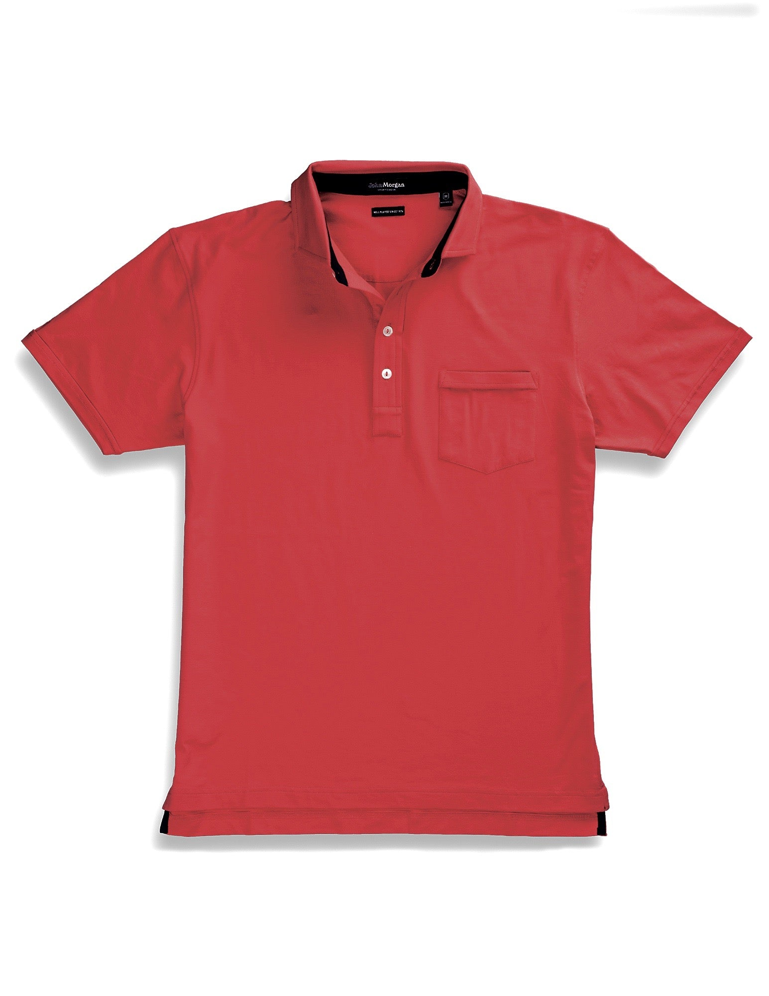 Morgan Luxe Polo with Pocket - Spicy Coral