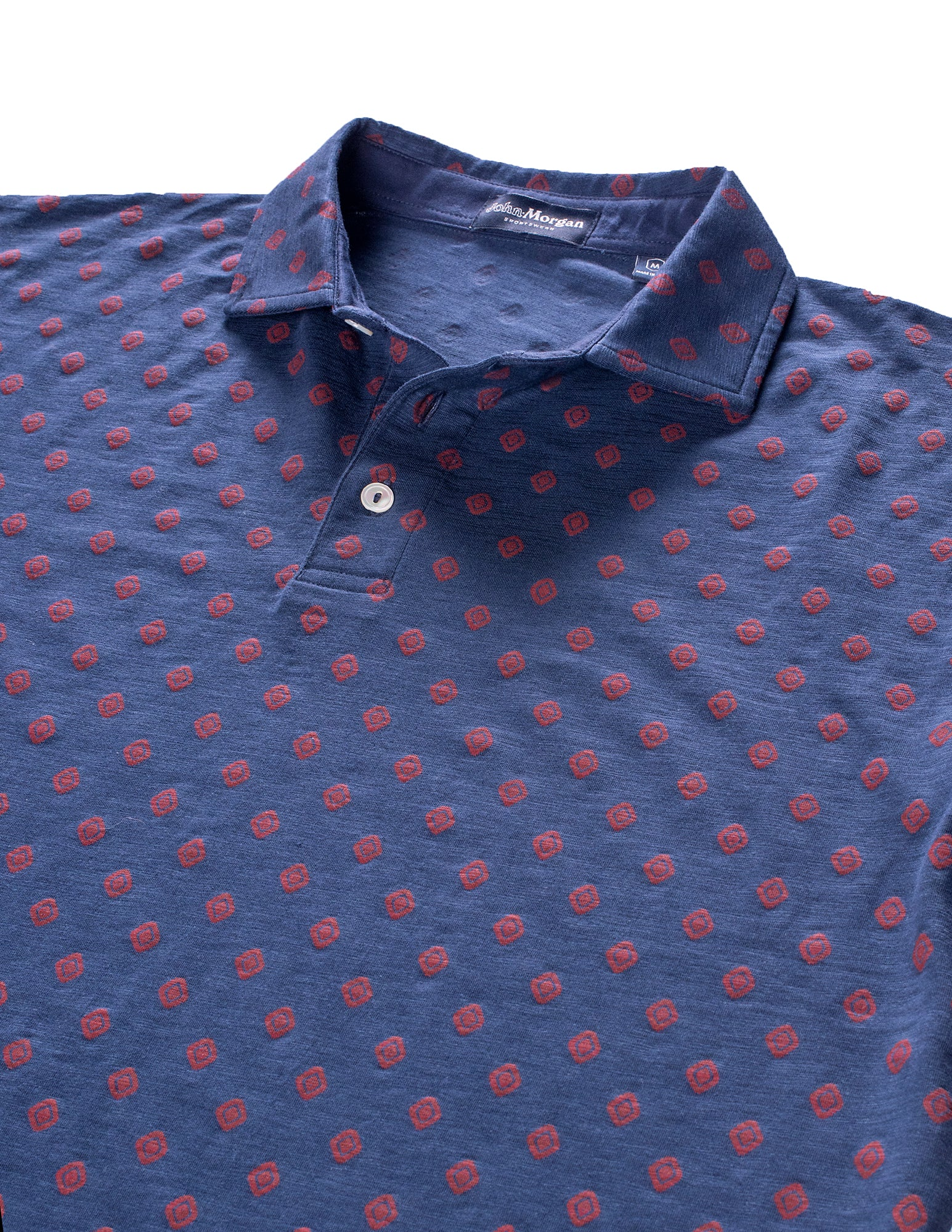 Morgan Slub Cotton Polo - Geo Print