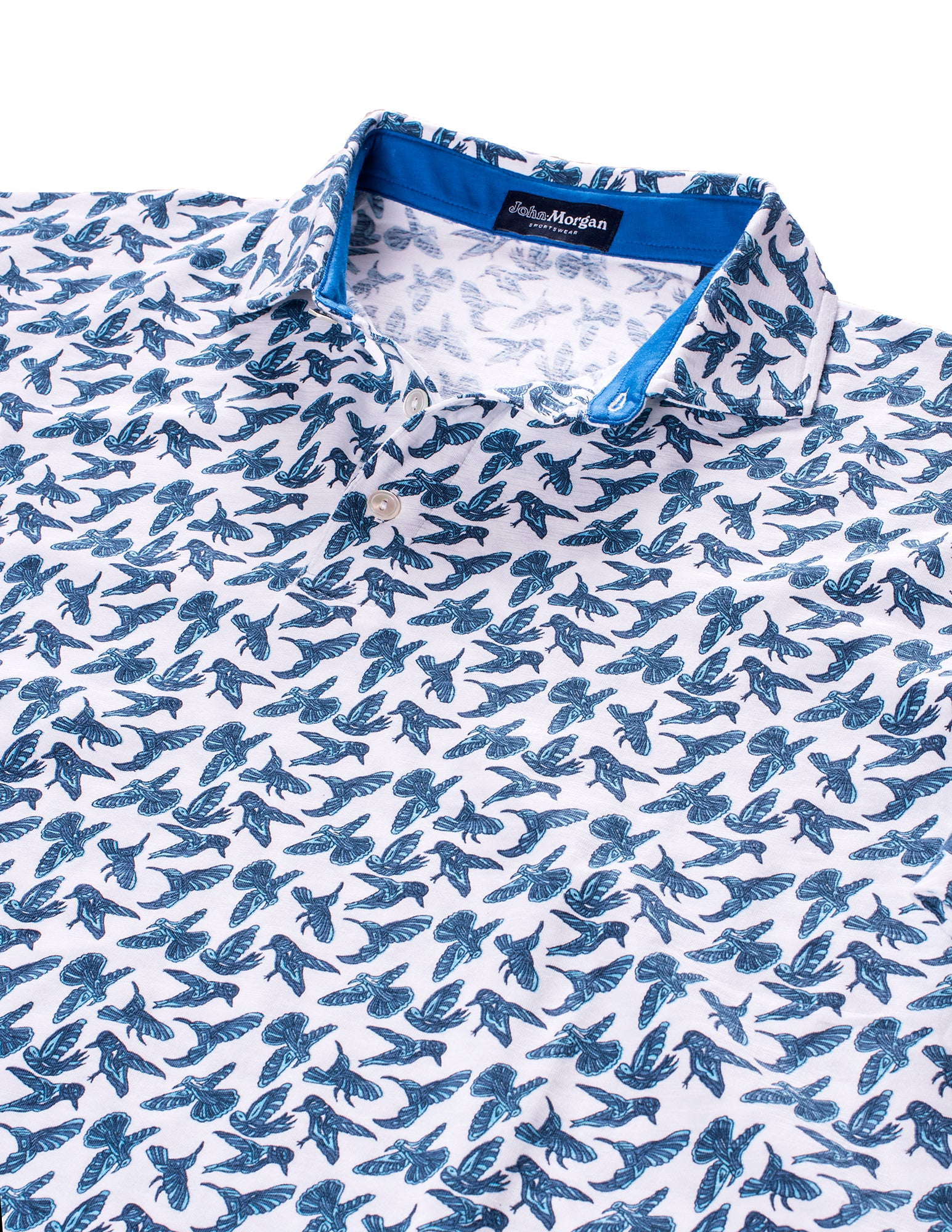 Morgan Slub Cotton Polo - Bird Print