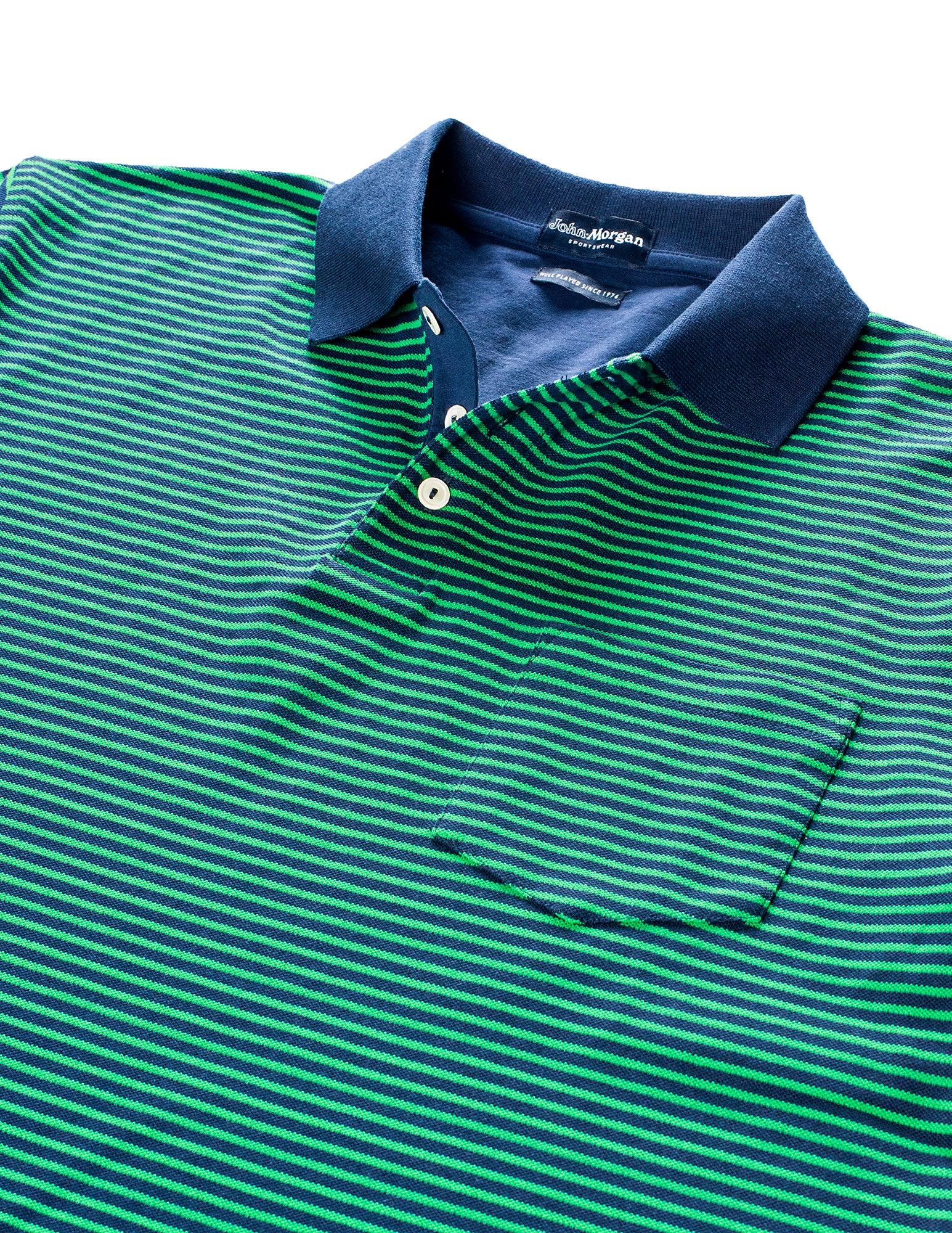 Stewart Luxe Pique Stripe Polo - Navy/Leaf