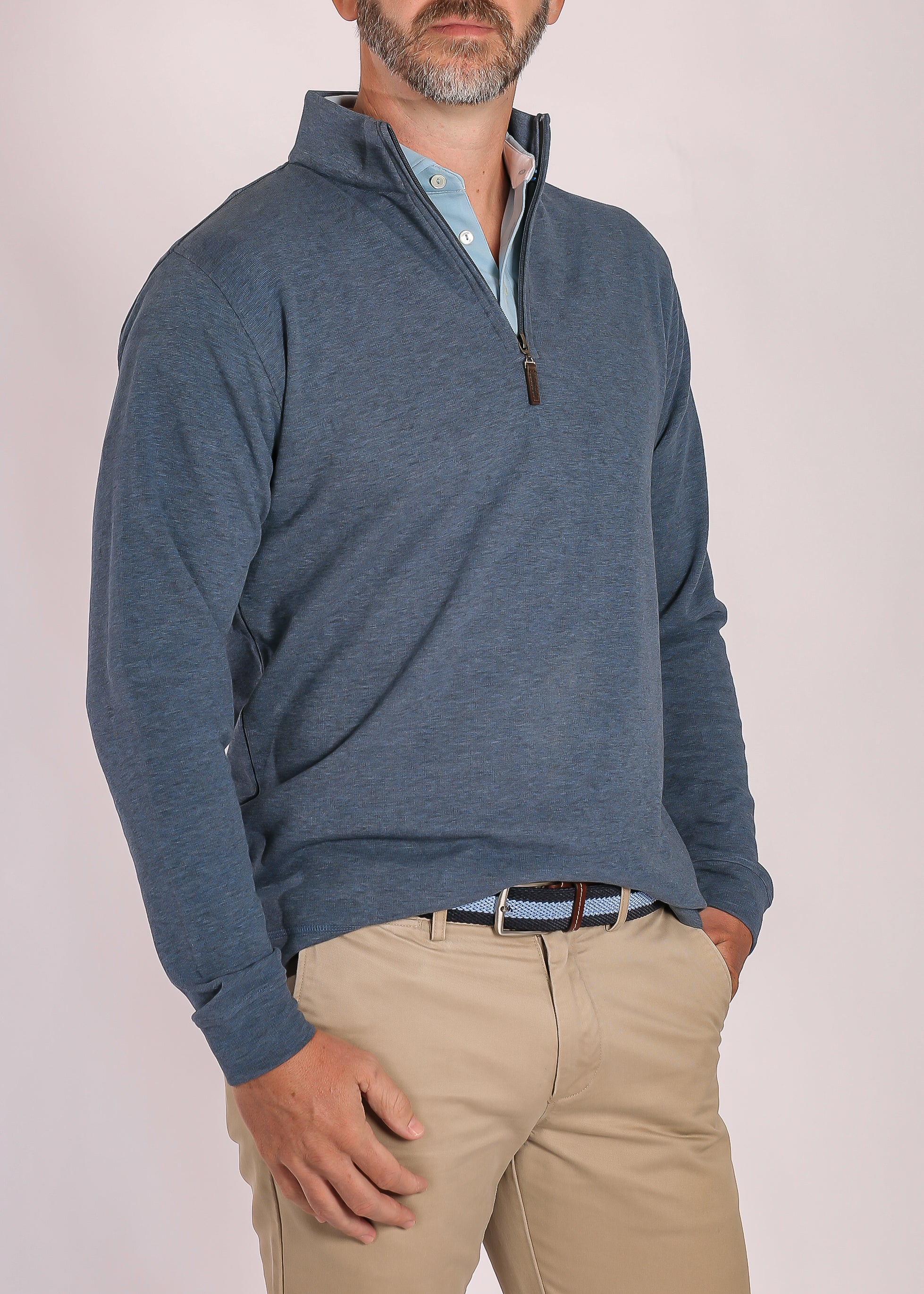 Morgan Interlock Quarter Zip - Navy