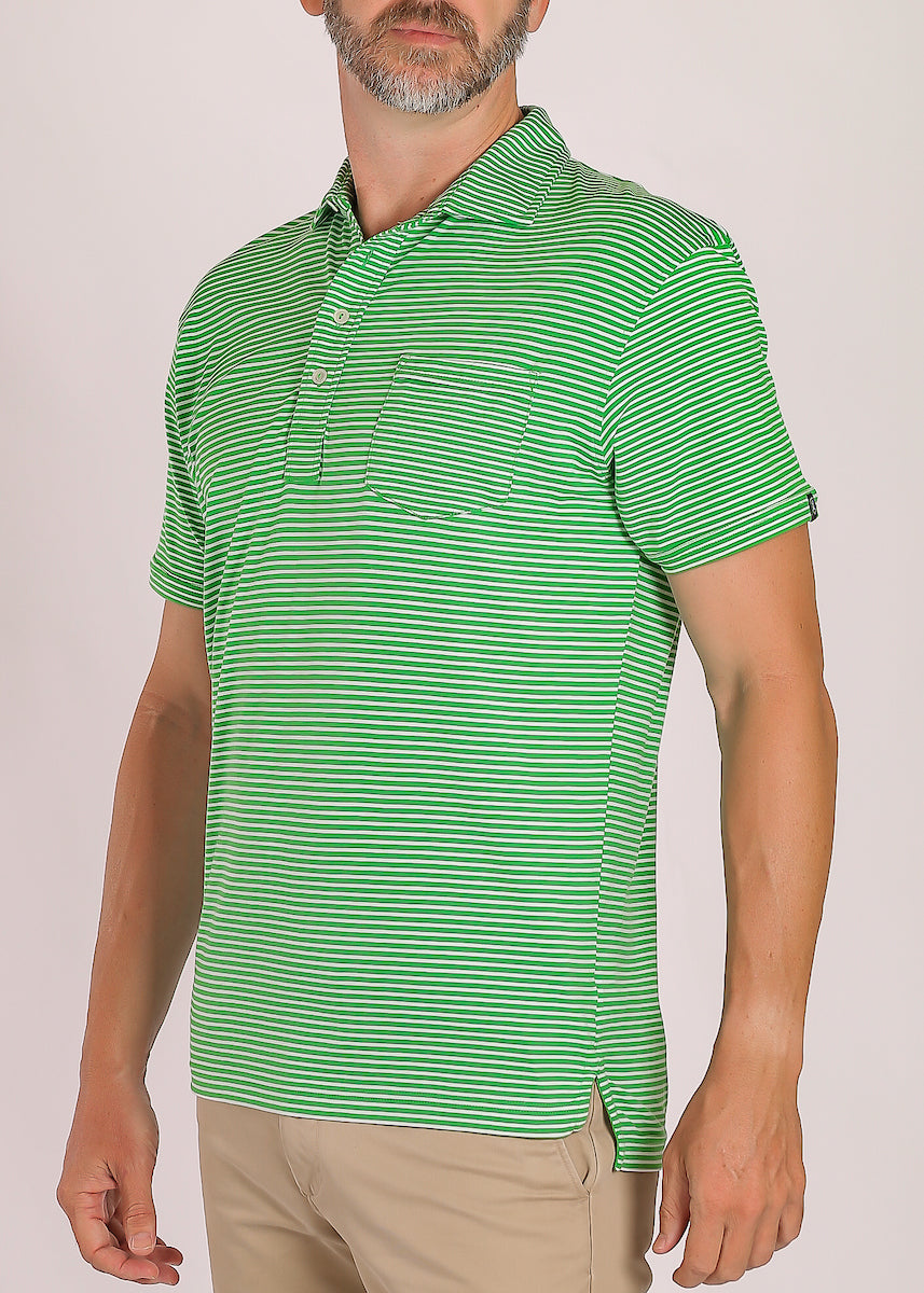 Carolina Club Stripe Polo - Leaf