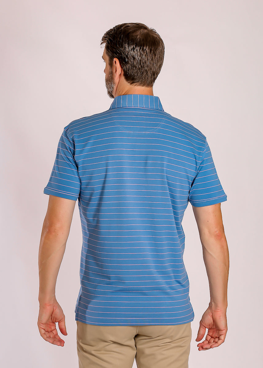 Blue Polo Shirt with Stripes