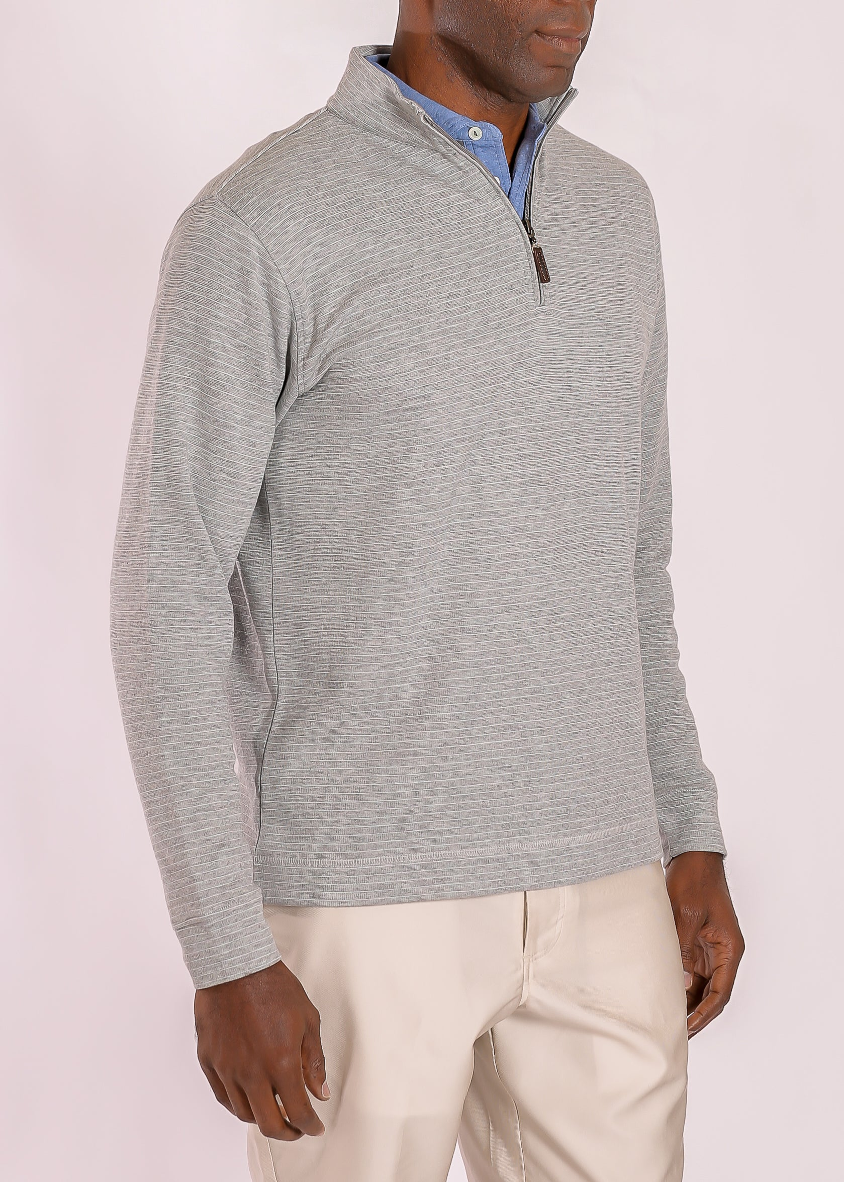 Dunlap Mini Stripe Quarter Zip - Grey/Heather