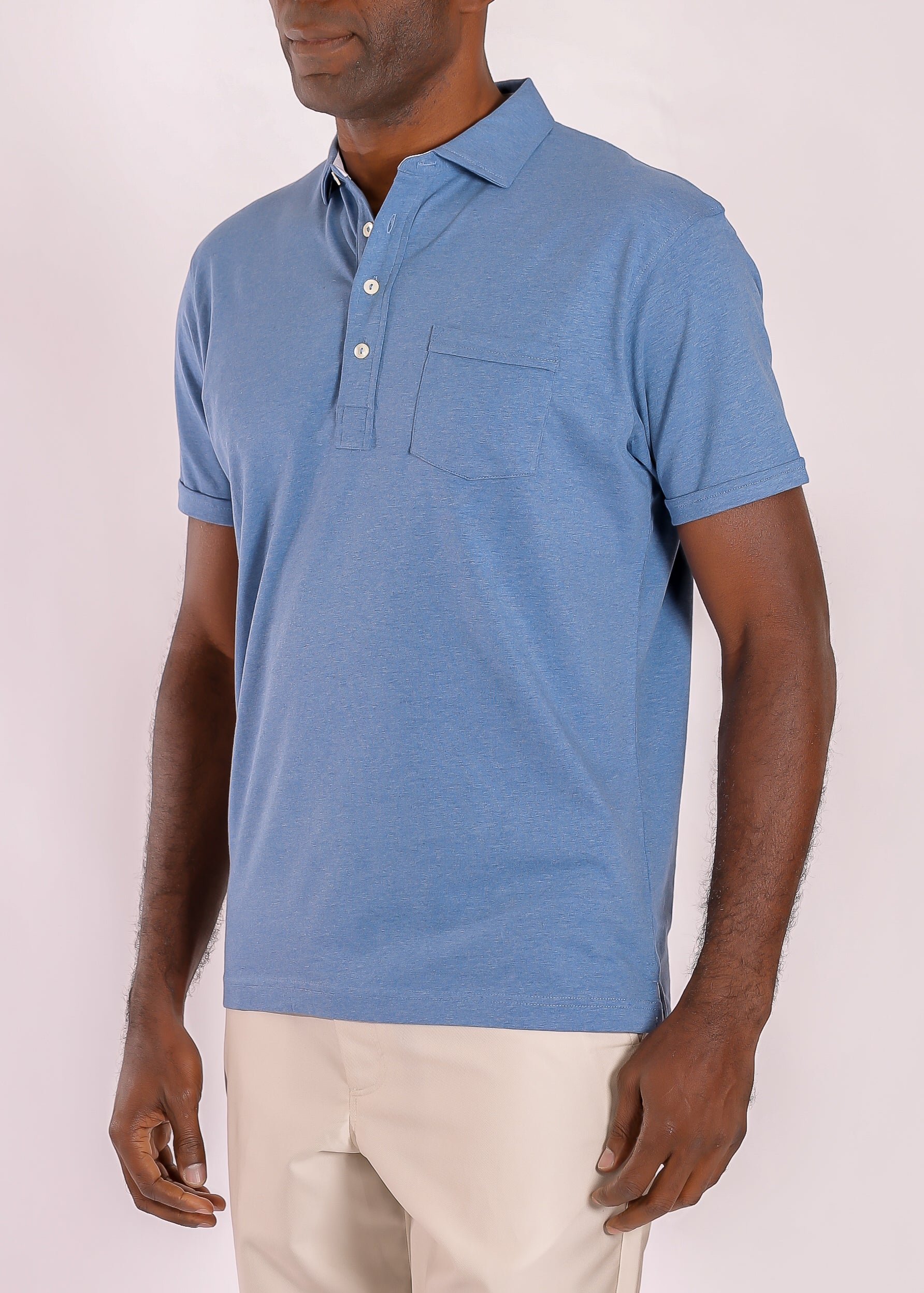 Morgan Polo Solid with Pocket - Chambray Heather