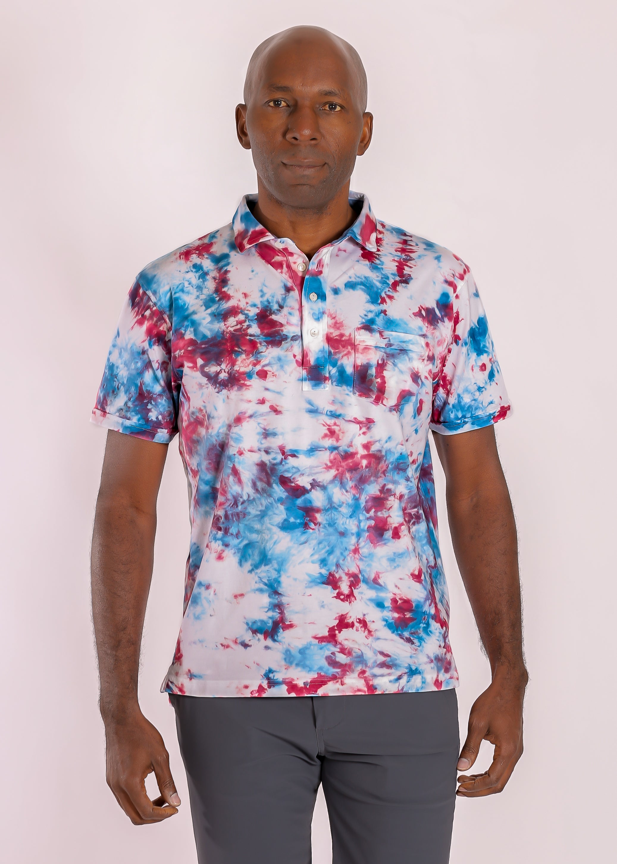 Morgan Luxe Polo with Pocket - Red, White & Blue Tie Dye