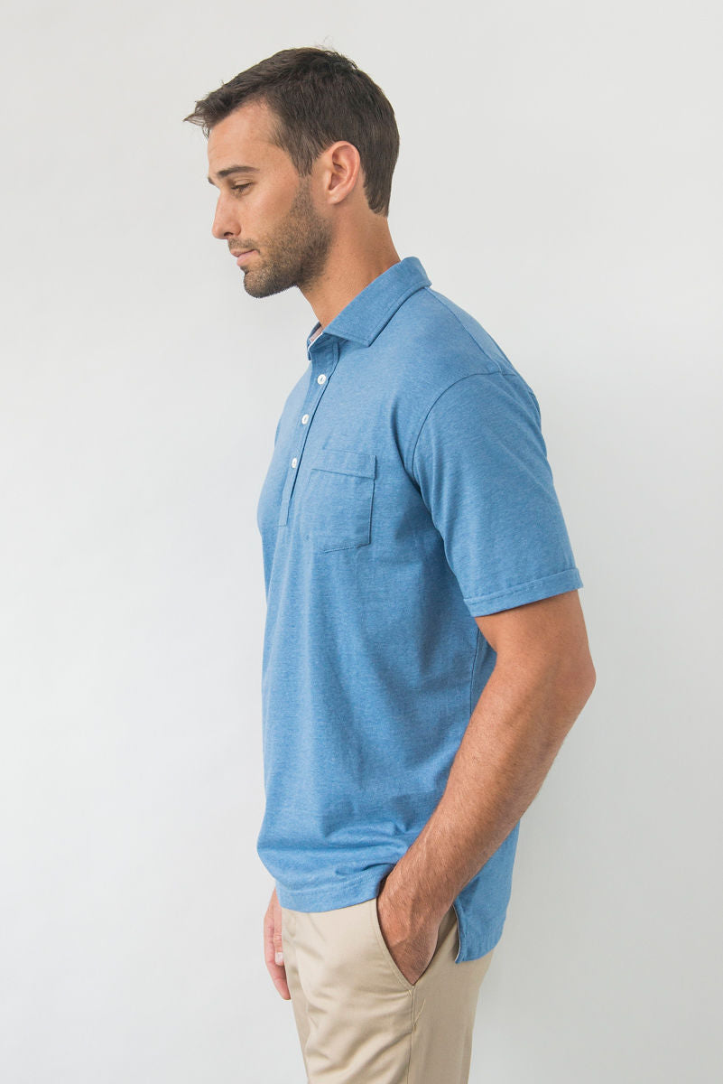 Morgan Luxe Polo with Pocket - Denim Heather