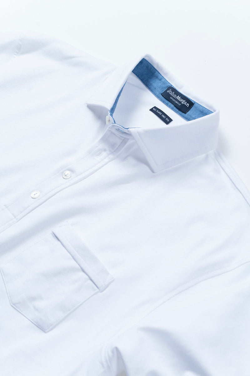 White Polo Shirt with Pocket