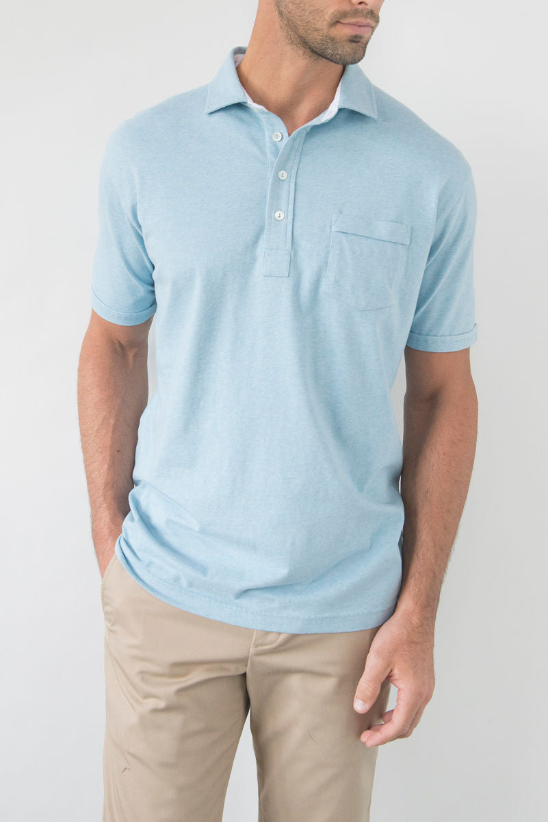 Morgan Luxe Polo with Pocket - Chambray Heather