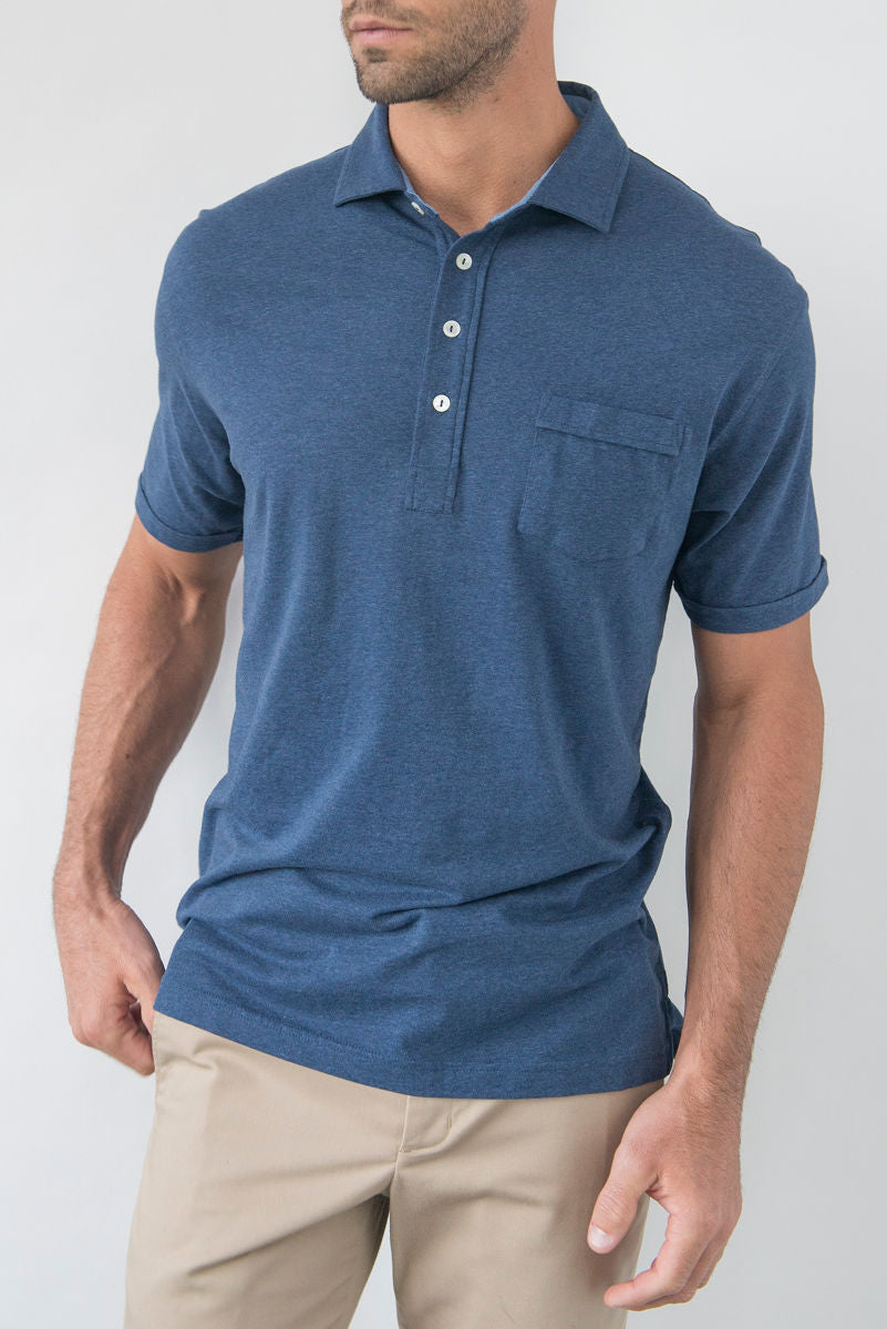Morgan Luxe Polo with Pocket - Navy Heather