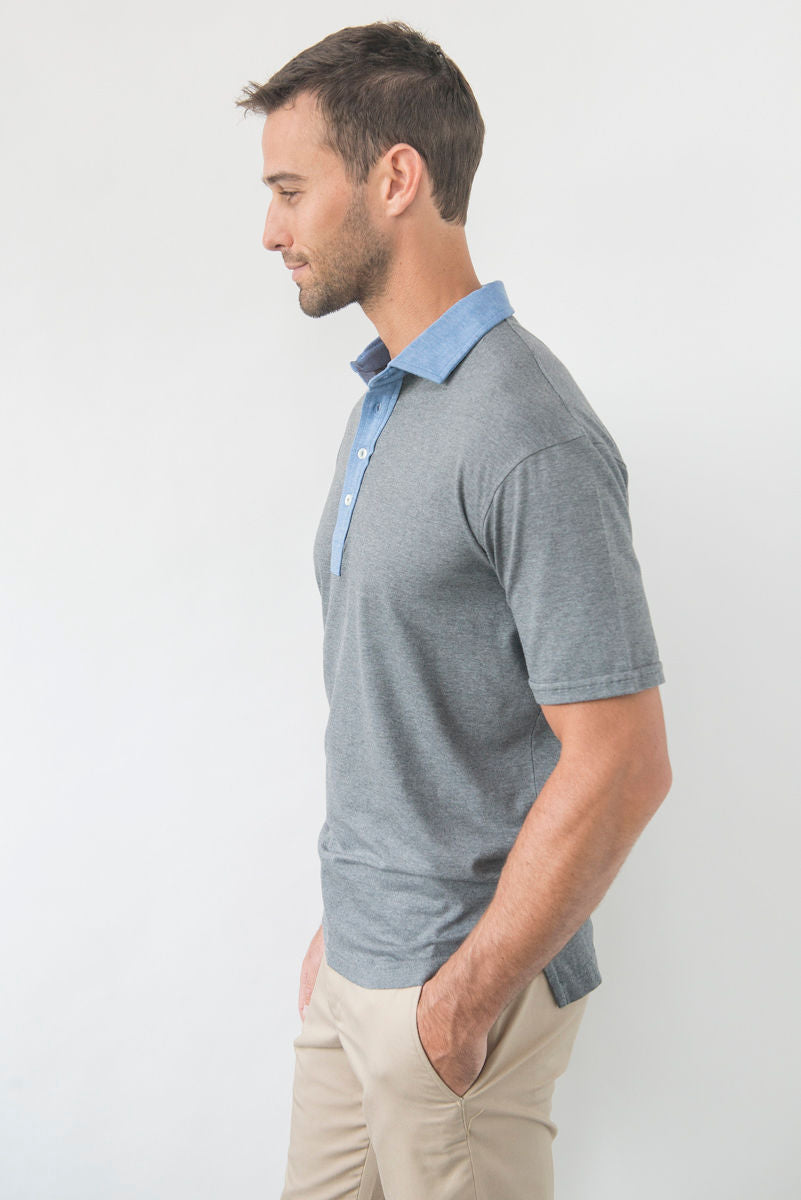Morgan Polo Solid with Contrast - Charcoal