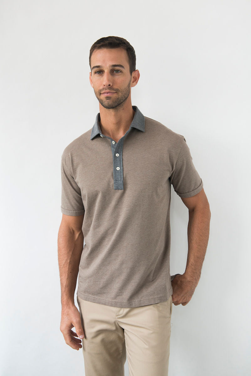Morgan Polo Solid with Contrast - Cork
