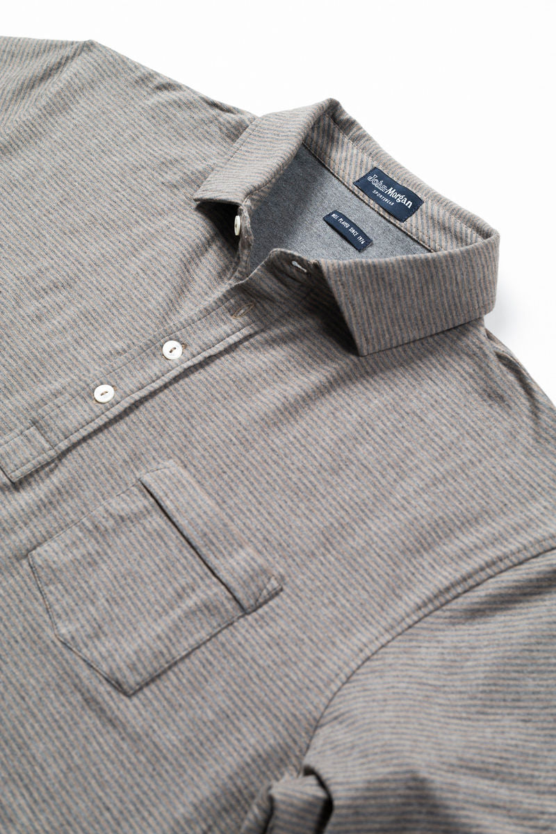 Morgan Polo Classic Even Stripe - Charcoal/Cork