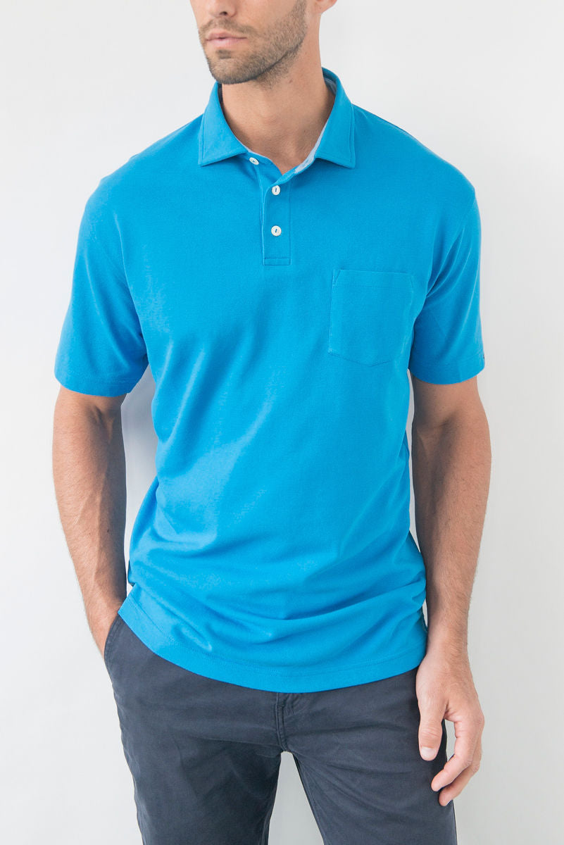 Whisper Vintage Pique Polo with Pocket - Gemini Blue