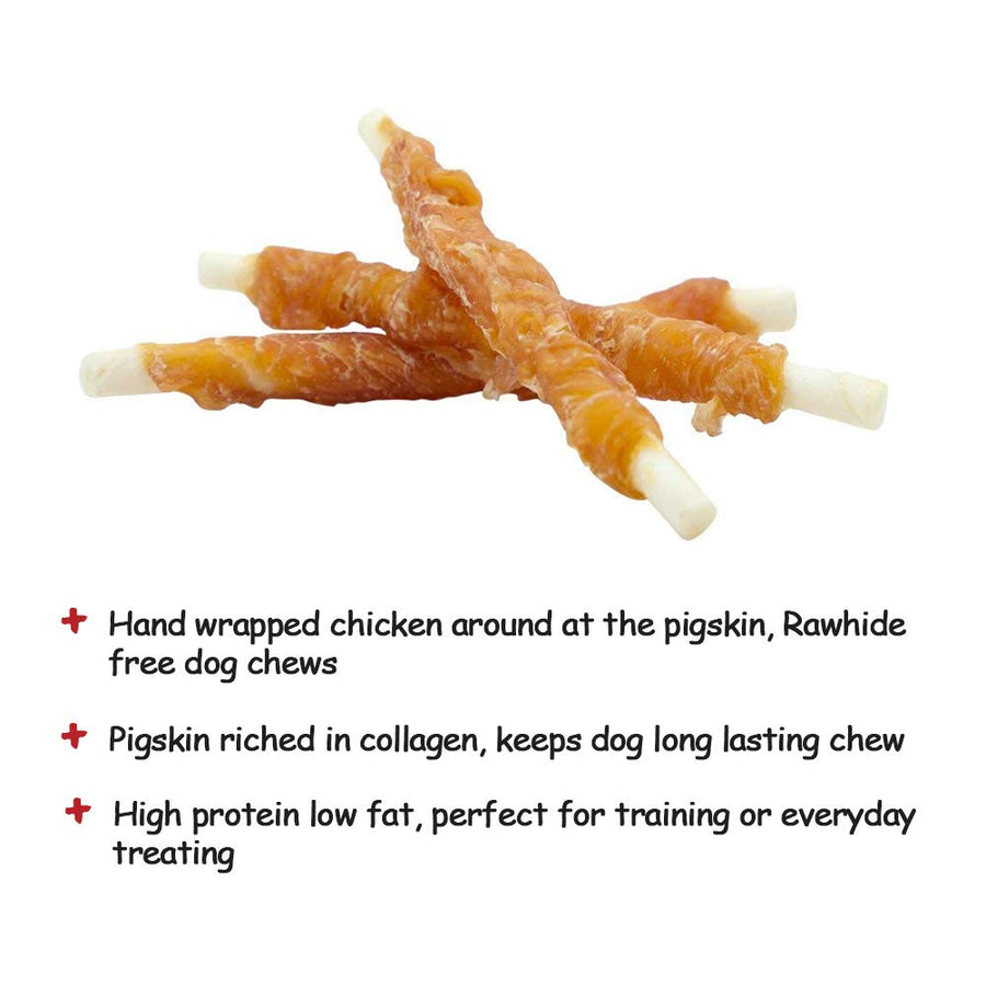 Dog Treats Puppy Chews Training Snacks,Chicken Breast Wrapped Rawhide Stix